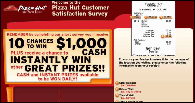 pizzahut customer survey
