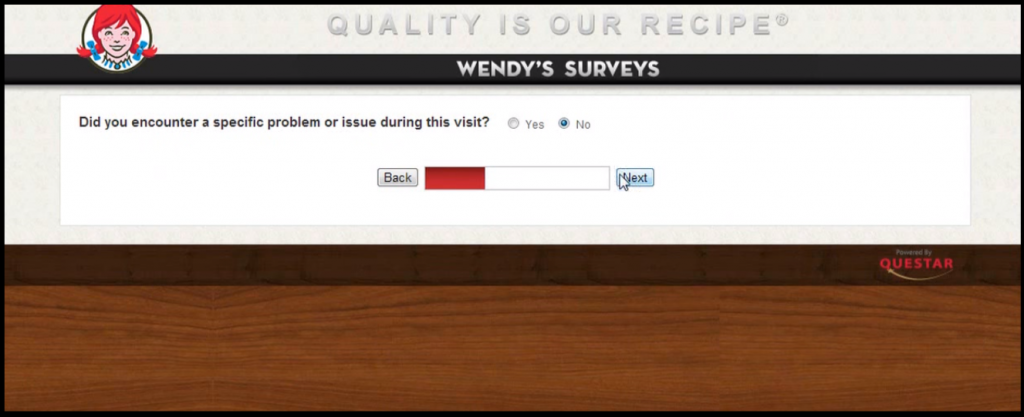 talkto wendys survey third step