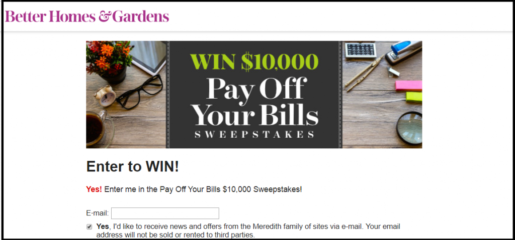 BHG.com Pay Off Your Bills Sweepstakes 2018 step2