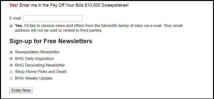 BHG.com Pay Off Your Bills Sweepstakes 2018 step3