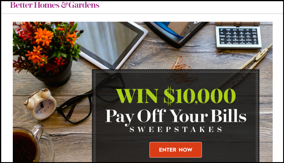 BHG.com Pay Off Your Bills Sweepstakes 2018