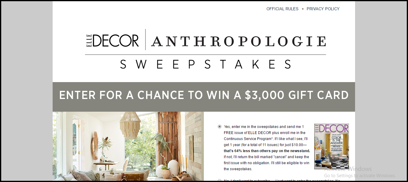 Decor Sweepstakes