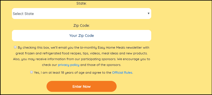 Easyhomemeals.com March Frozen Food Month $10,000 Sweepstakes