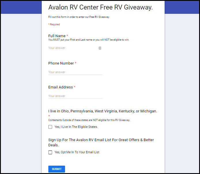Avalon RV gifts