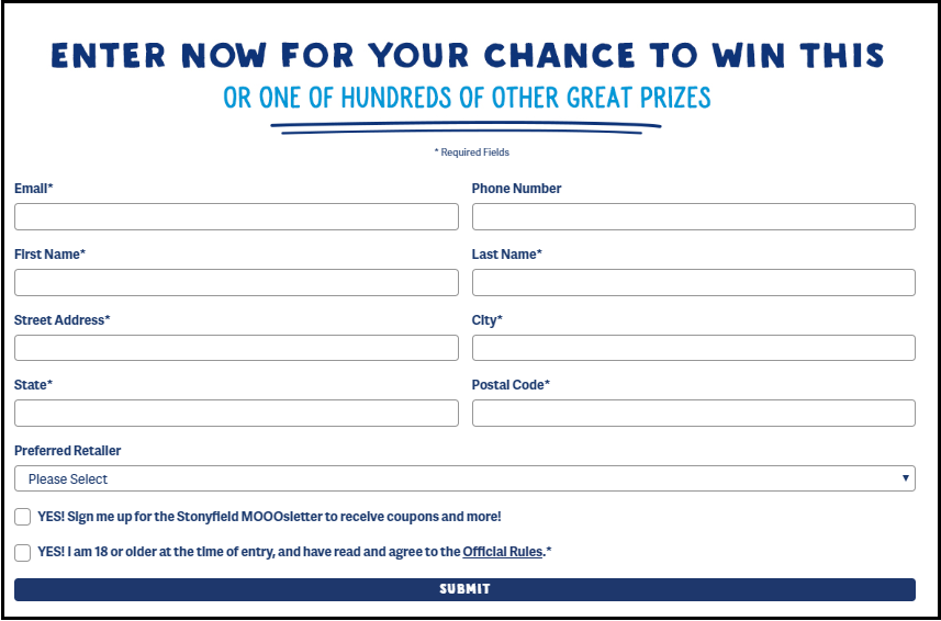 Stonyfield Enter To win