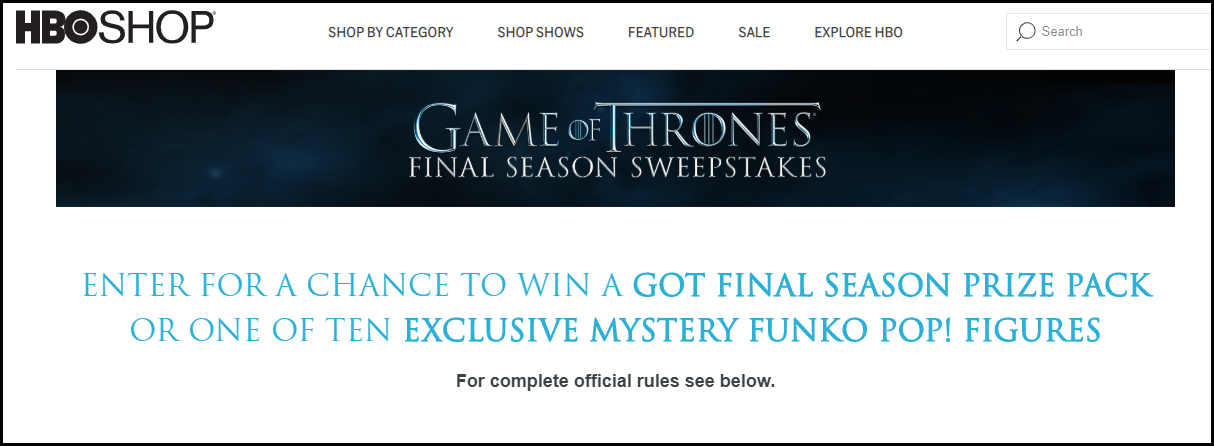 Game of Thrones Home page