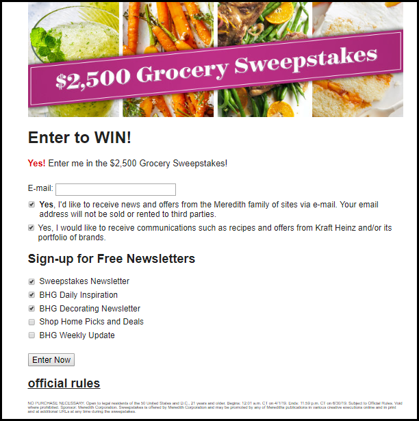 Grocery Sweepstakes Entry Form