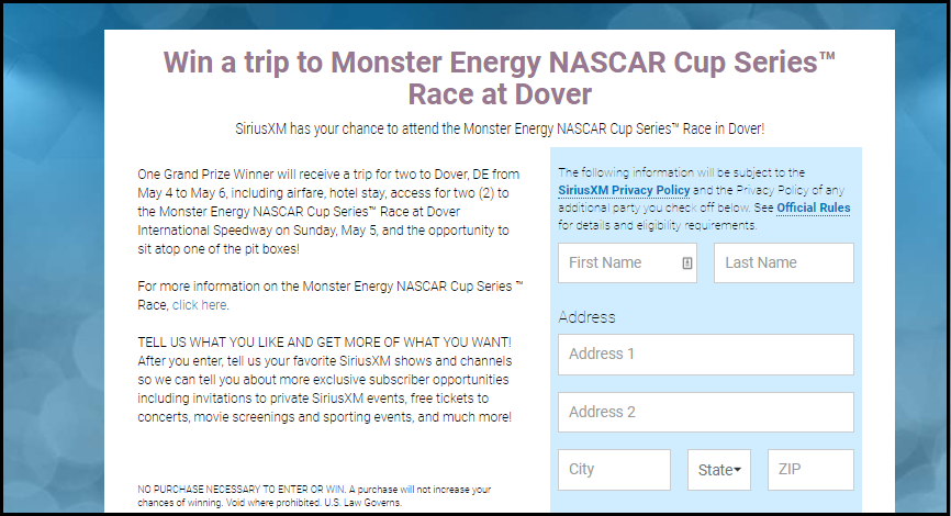 Nascar Cup home page