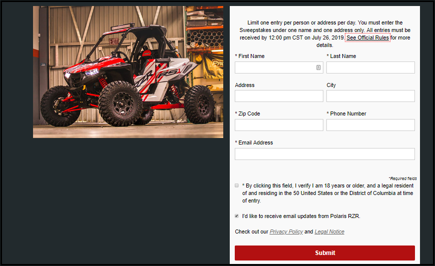 RZR RS1 Entry Form