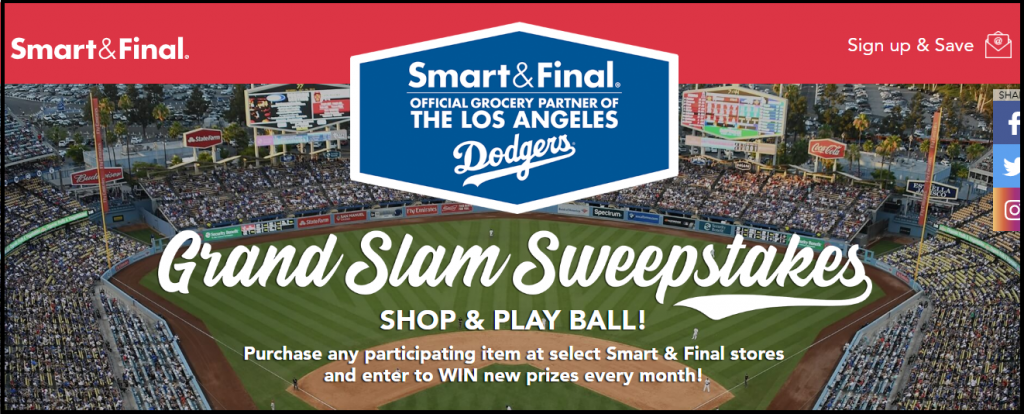 Smart & Final Los Angeles Dodgers Grand Slam Sweepstakes