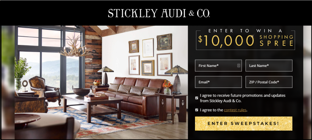 Stickley Audi Grand Opening $10000 Shopping Spree Sweepstakes
