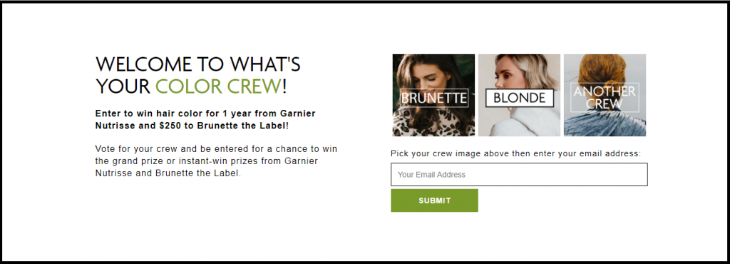 Garnier What's Your Color Crew? Instant Win Game and Sweepstakes