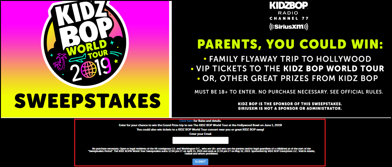 KIDZ BOP World Tour Sweepstakes on Kidzbopsweeps.com