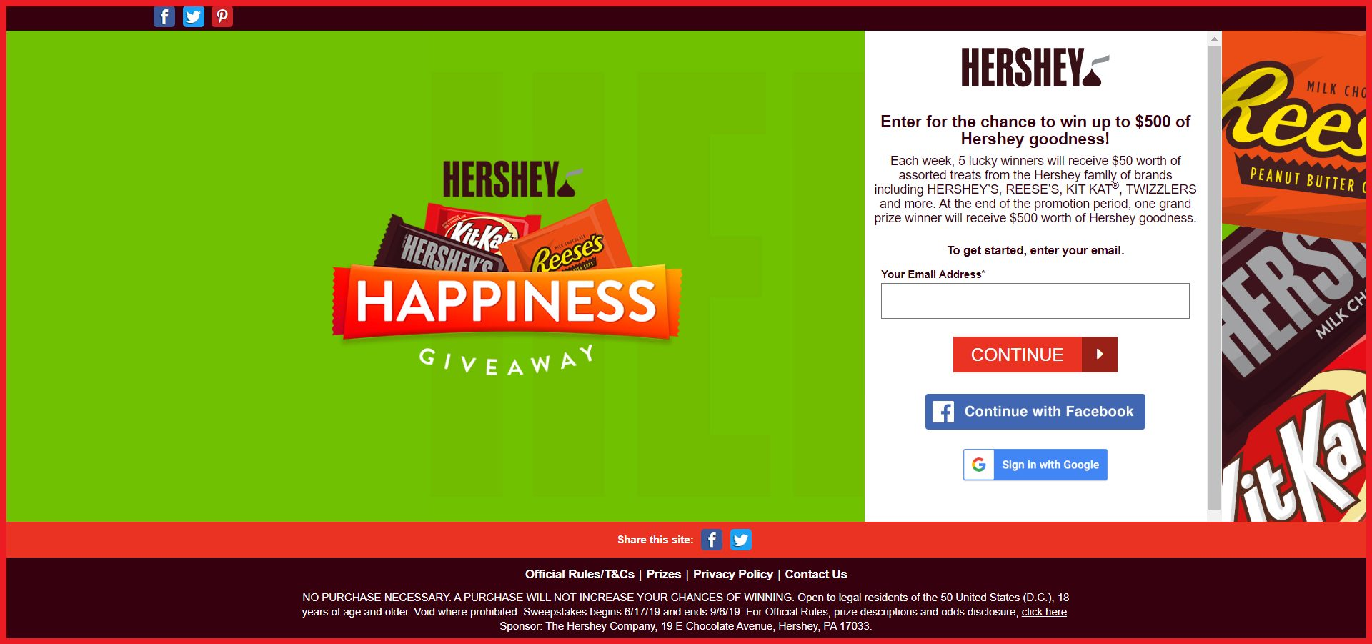 Hershey's Sweepstakes entry guide