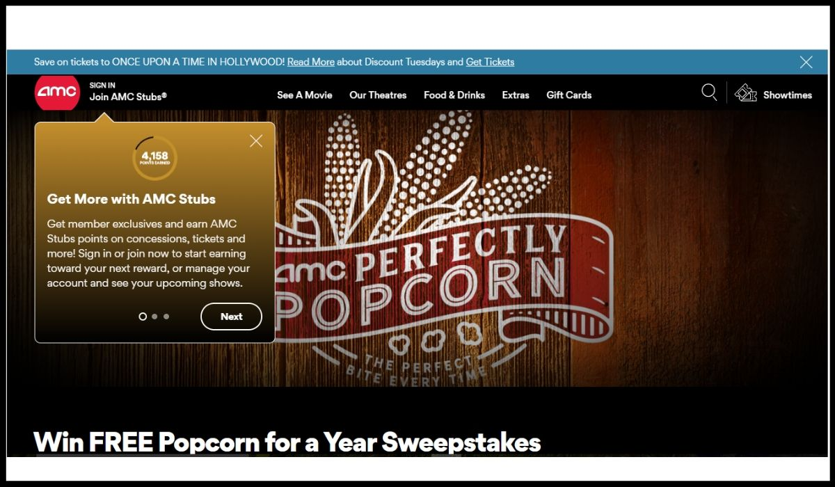entry to AMCTheatres.com Perfectly Popcorn