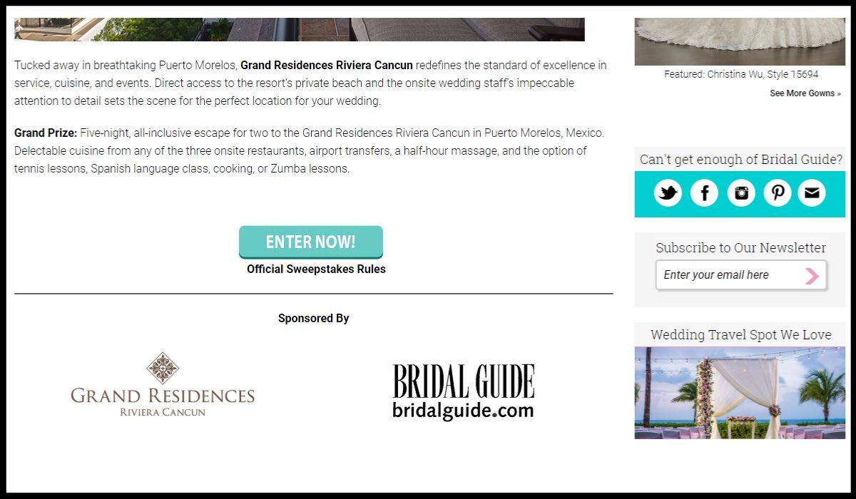 Bridalguide.com Little White Book Sweepstakes