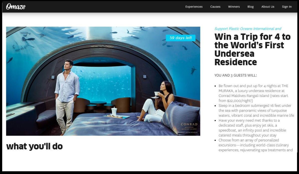 Win a Trip for 4 to the Muraka, Underwater hotel from Omaze!