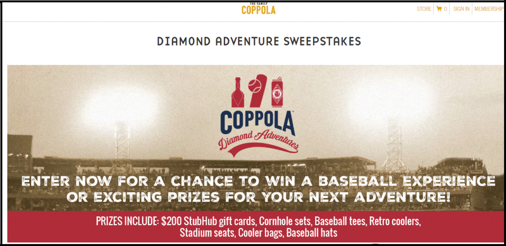The Family Coppola Adventure Sweepstakes