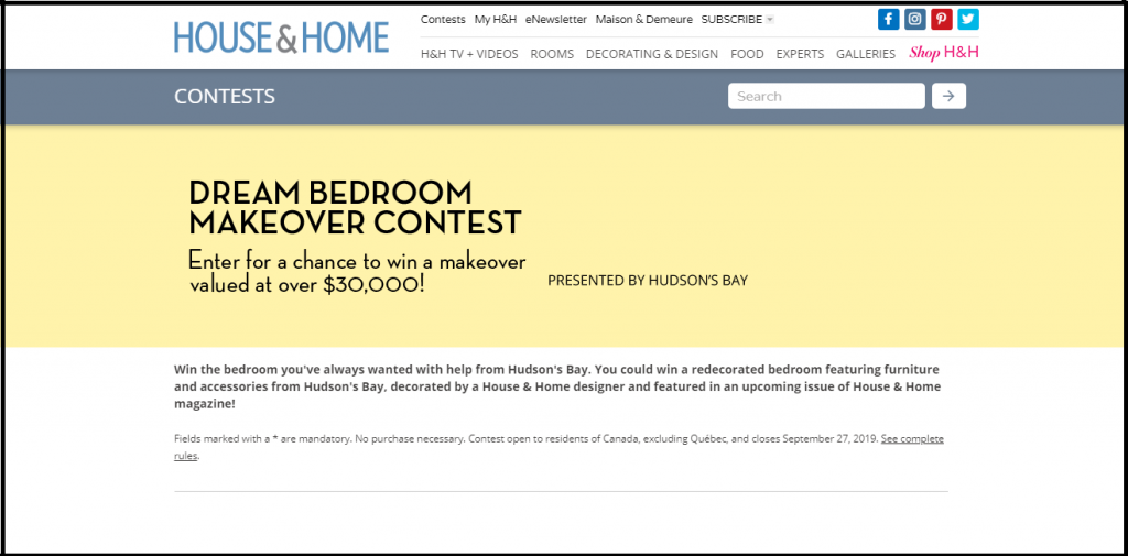Hudson's Bay Bedroom Makeover Contest 2019
