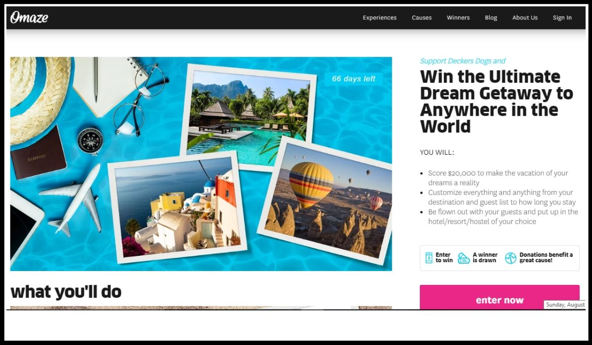 Entry for the Omaze Dream Vacation Sweepstakes