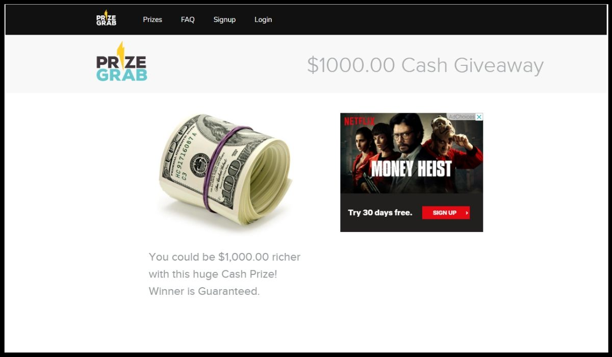 entry for PrizeGrab.com Cash Giveaway