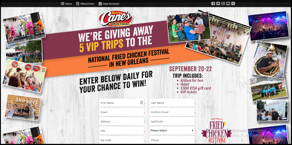 Raising Cane's Sweepstakes 2019