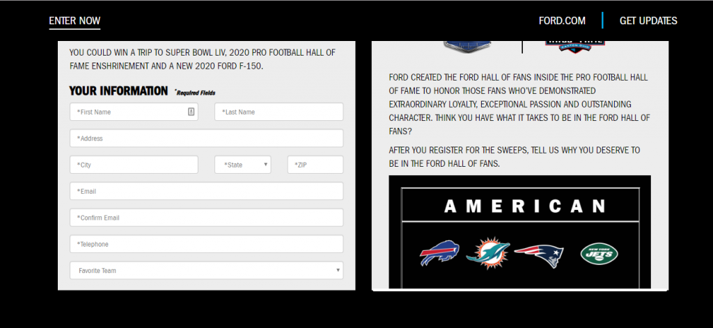 Ford FootballNFL hall of fame Contest
