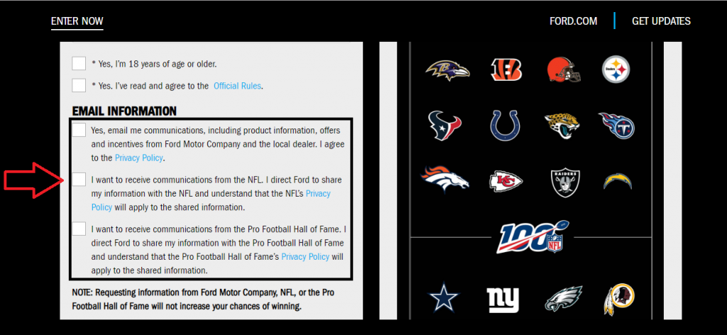 Ford Football NFL hall of fame Contest