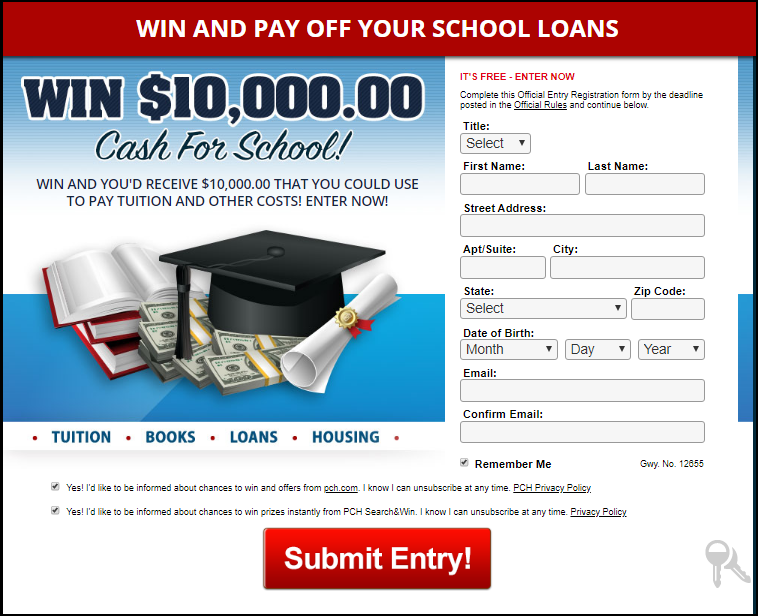 Cash for School entry form