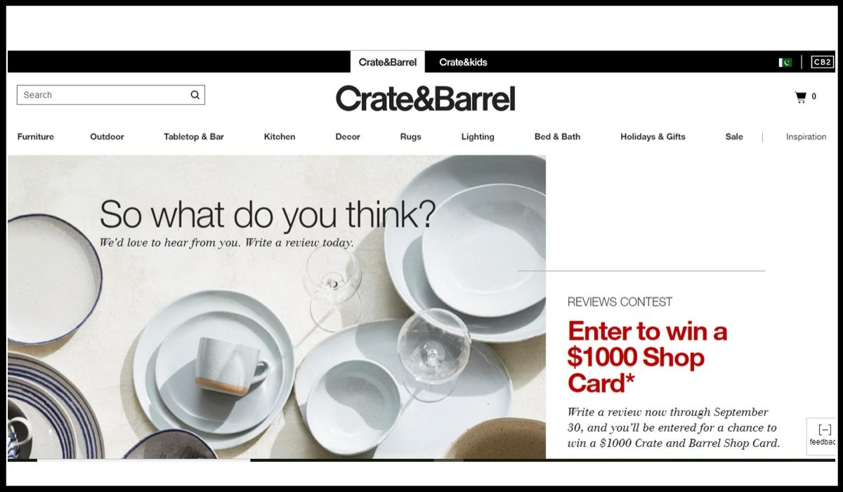 Crate and Barrel Giveaway online entry
