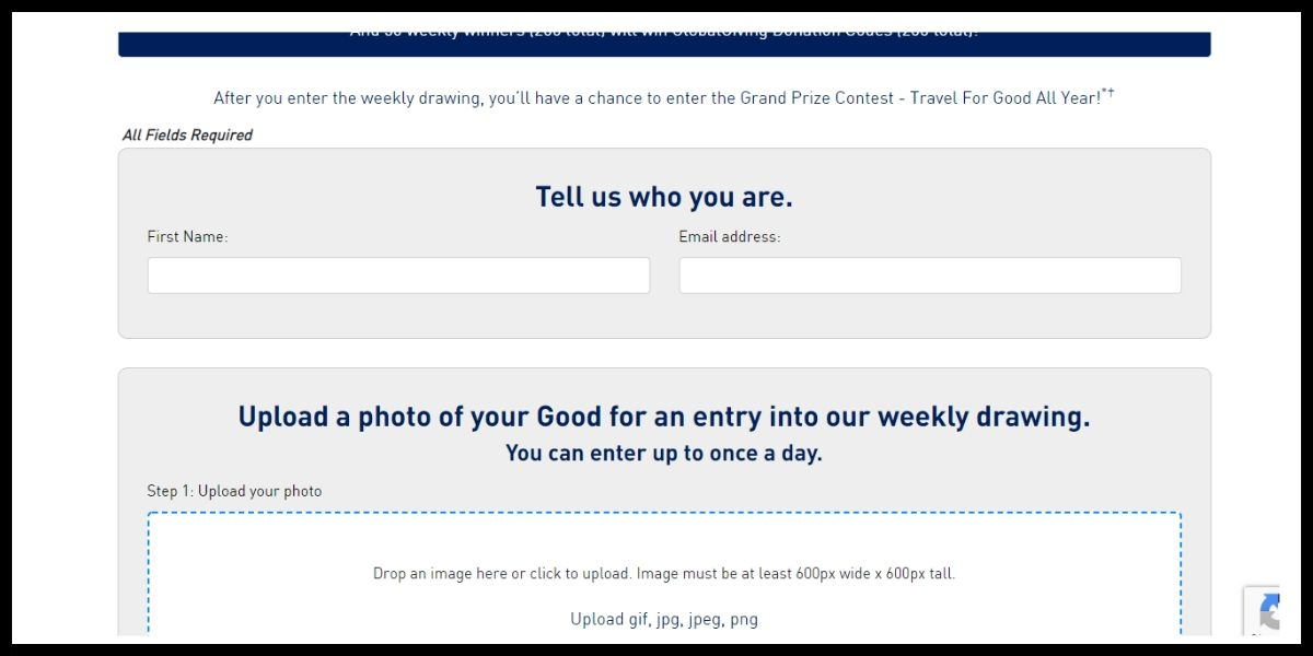 Online entry for Jetblue Share Your Good Contest