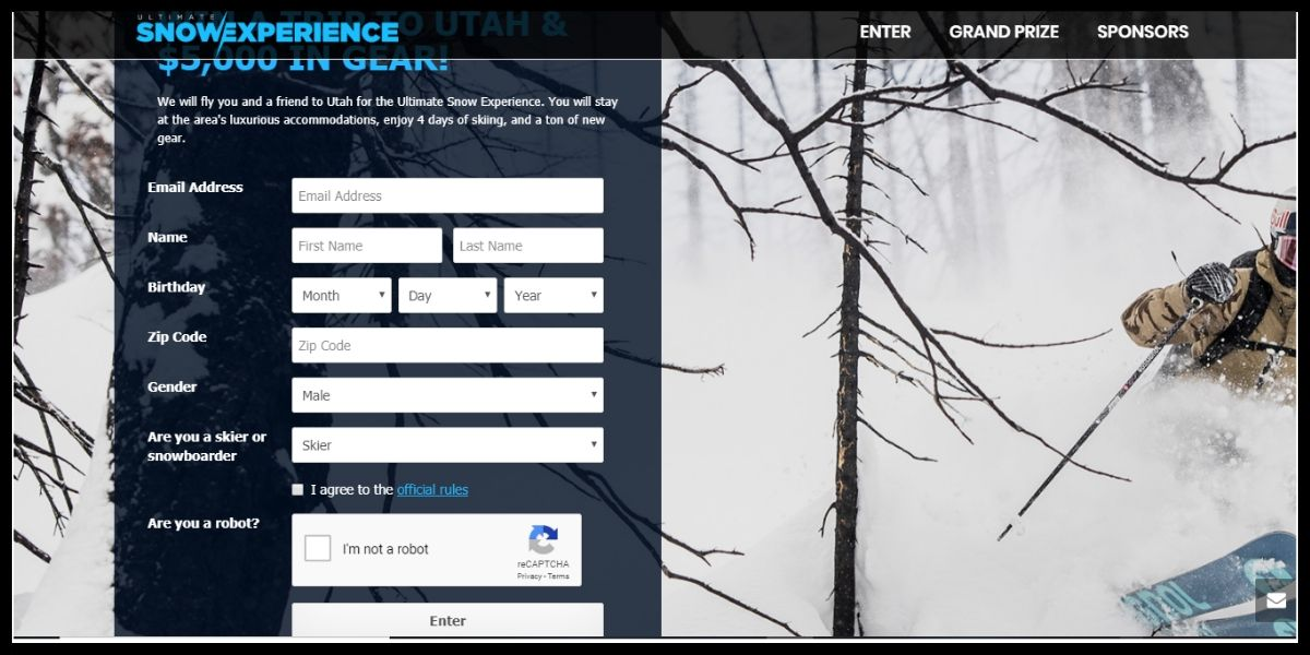 Ultimate Snow Experience Sweepstakes entry form