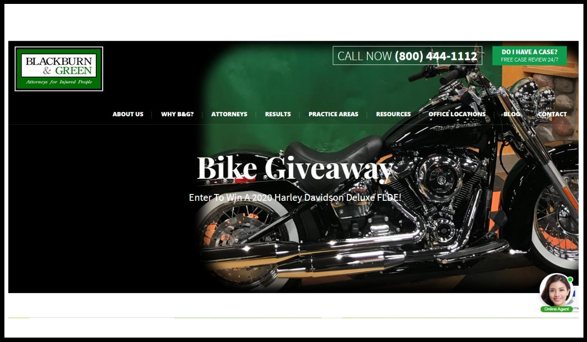 Online entry for Blackburn and Green Harley Motorcycle Giveaway 2020