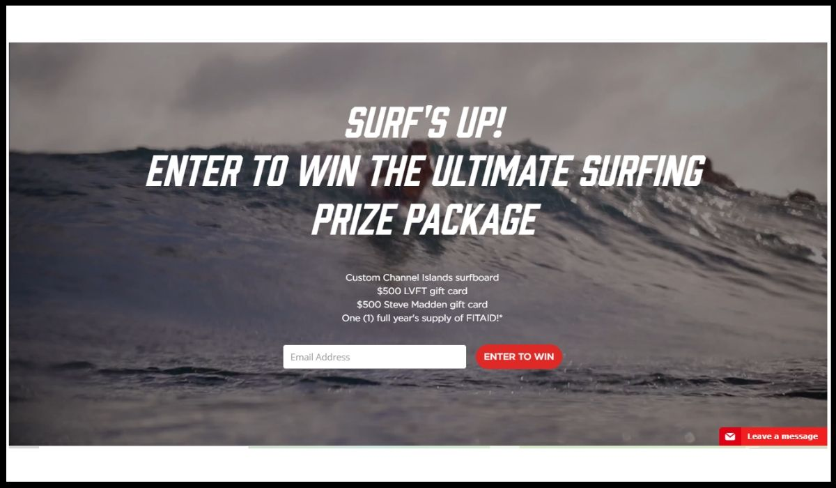 Online entry for Lifeaid Surf's Up Giveaway