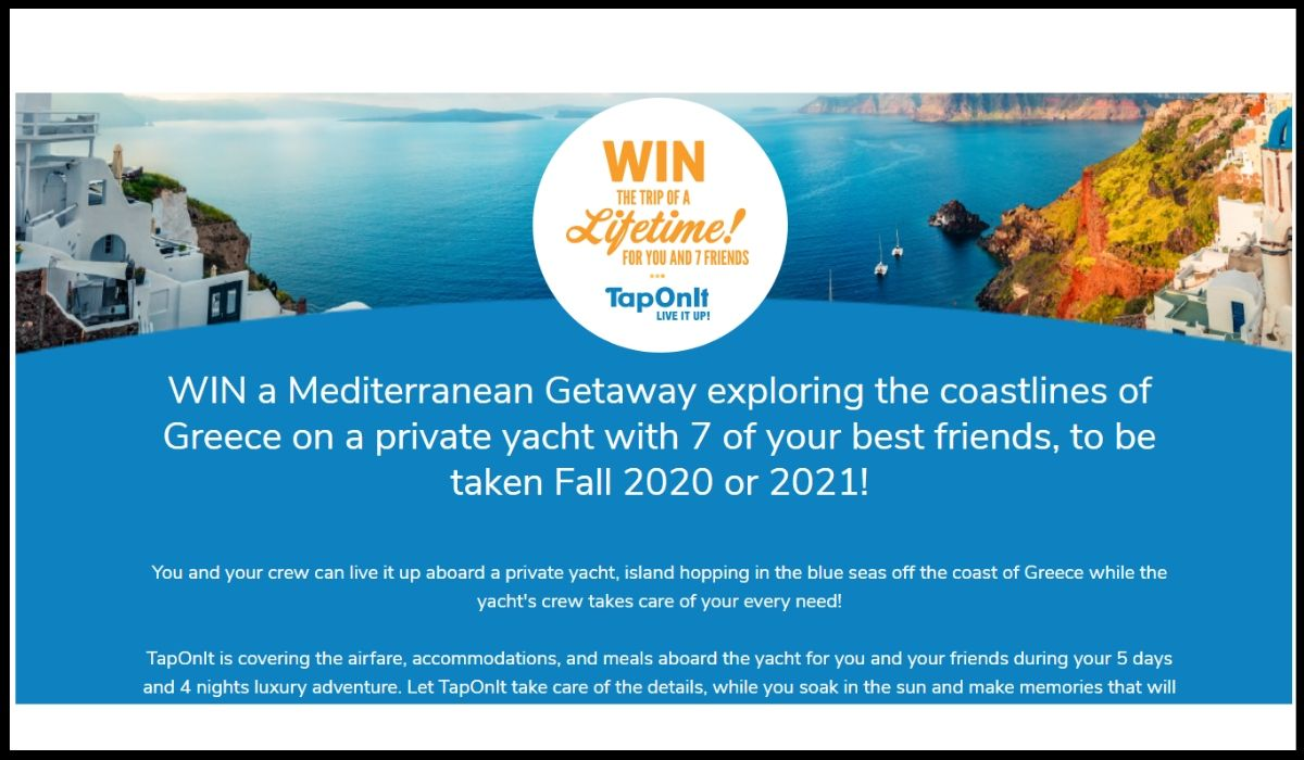 Online entry for win a trip to Greece