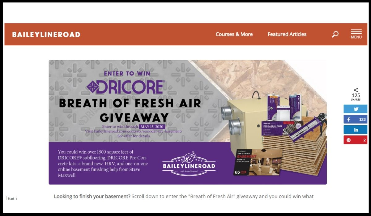 Online entry for Dricore Sweepstakes